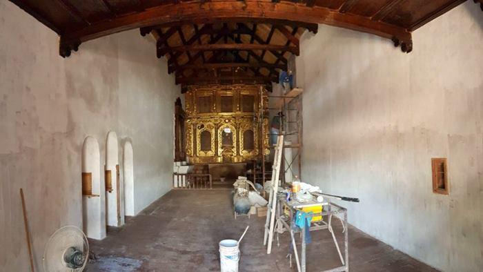 Trabajos en el interior de la Iglesia de Uquía